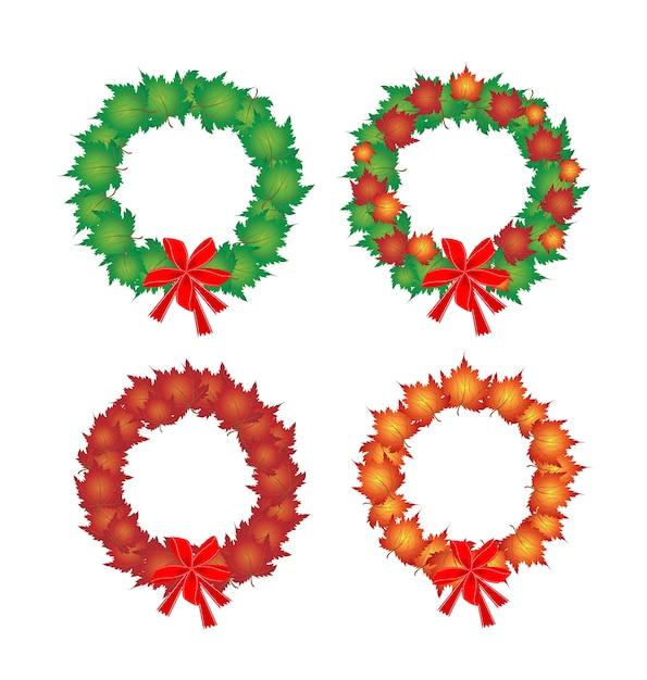 Kerstkrans van esdoornbladeren en rode strikken Premium Vector