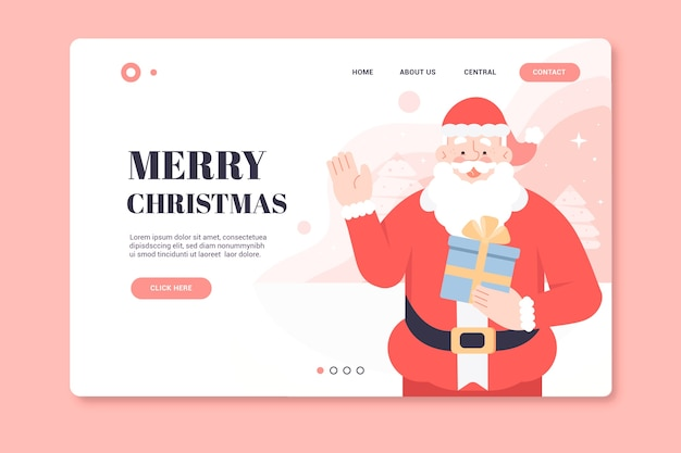 Kerstlandingspagina met santa Gratis Vector