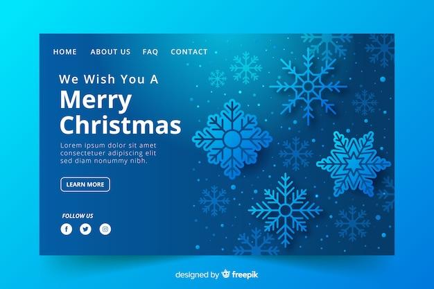Kerstlandingspagina met sneeuwvlokken Gratis Vector