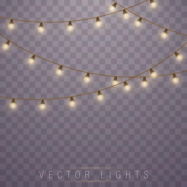 Kerstlichten. led neon lamp. slingers decoraties. Premium Vector