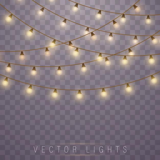 Kerstlichten. led neon lamp. Premium Vector