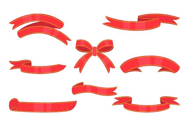 Kerstlintcollectie in plat ontwerp Gratis Vector