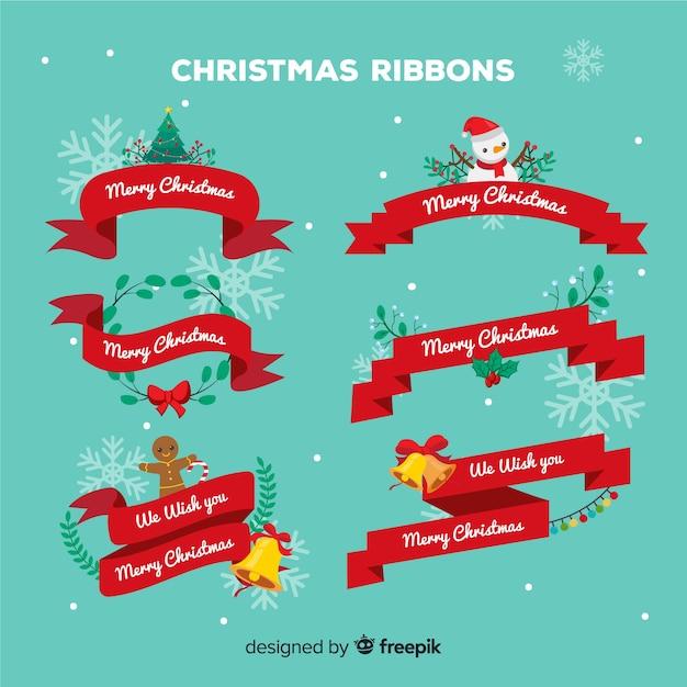 Kerstlinten met tekens Gratis Vector