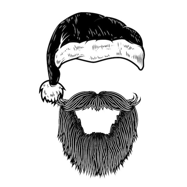 Kerstman baard en hoed. element voor poster, banner, wenskaart. illustratie Premium Vector