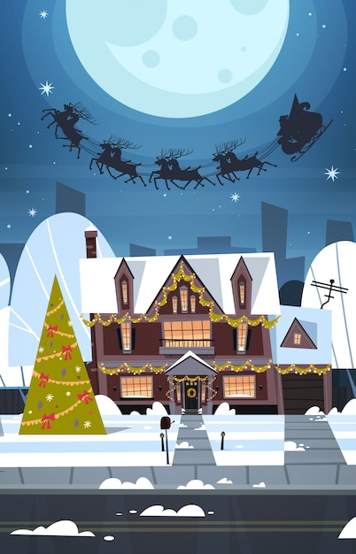 Kerstman die in slee met rendieren in hemel over dorpshuizen, vrolijke kerstmis en gelukkig nieuwjaar vliegen concept van de de wintervakantie Premium Vector