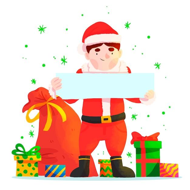 Kerstman die lege banner houdt Gratis Vector