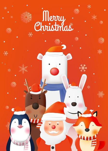 Kerstman en bende van dierenfeest met heel schattig karakter in papierkunst Premium Vector