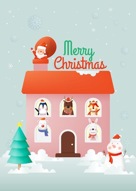 Kerstman en bende van dierenfeest met heel schattig karakterontwerp in papierkunst en pastelkleuren Premium Vector