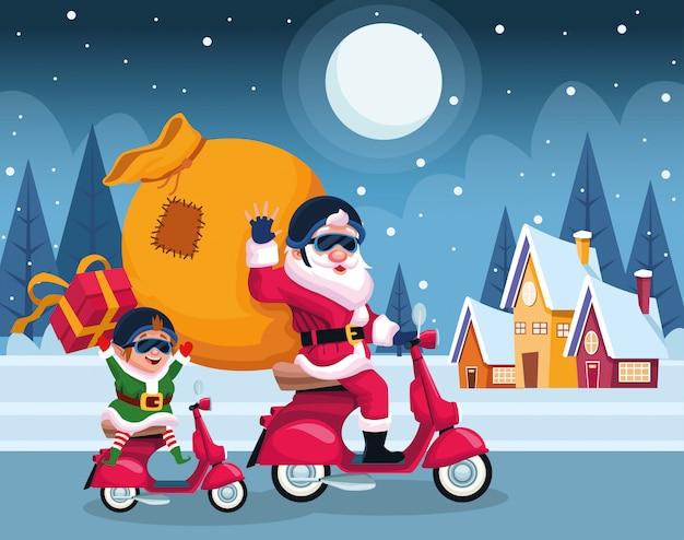 Kerstman en elf in motorfietsen met tas en geschenkdozen over huizen en winternacht Premium Vector
