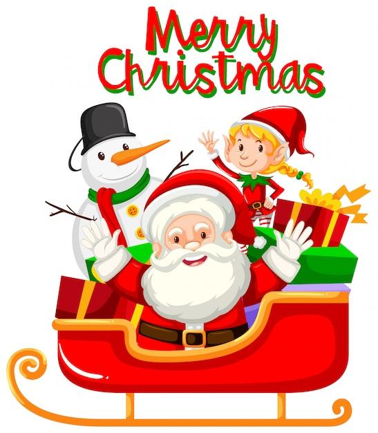 Kerstman en kerstmiselement voor decoratie Gratis Vector