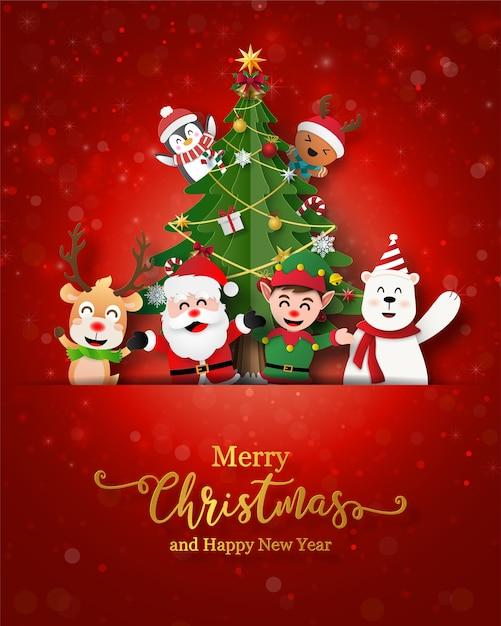 Kerstman en vrienden op kerst briefkaart Premium Vector