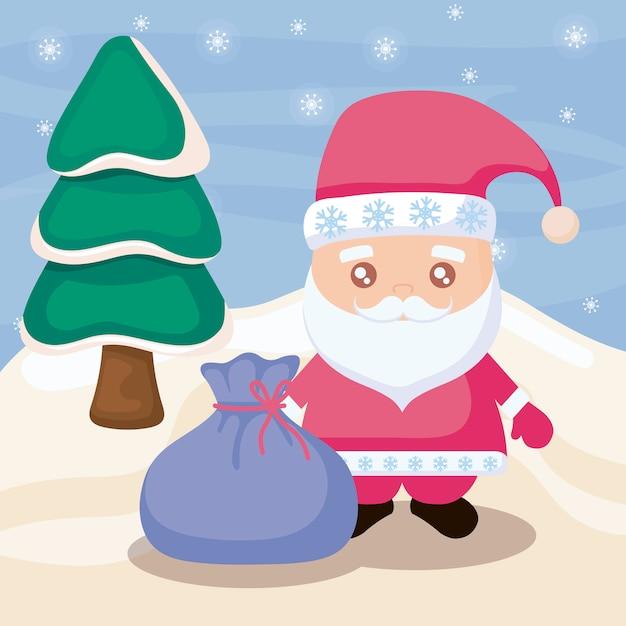 Kerstman en winterlandschap Premium Vector