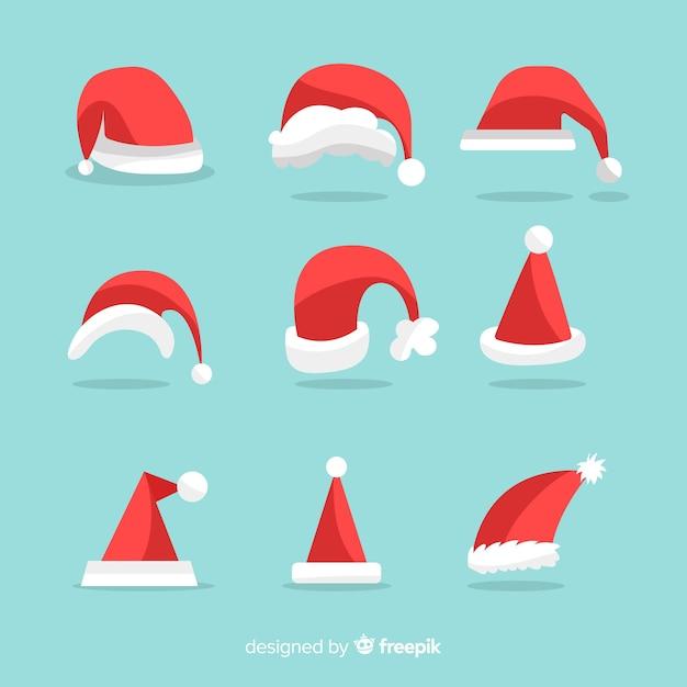 Kerstman hoed collectie Gratis Vector