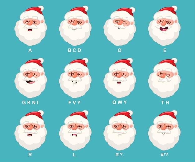 Kerstman hoofd met mond animatie. kerst stripfiguur met lip sync pictogrammen instellen geïsoleerd op de achtergrond. Premium Vector