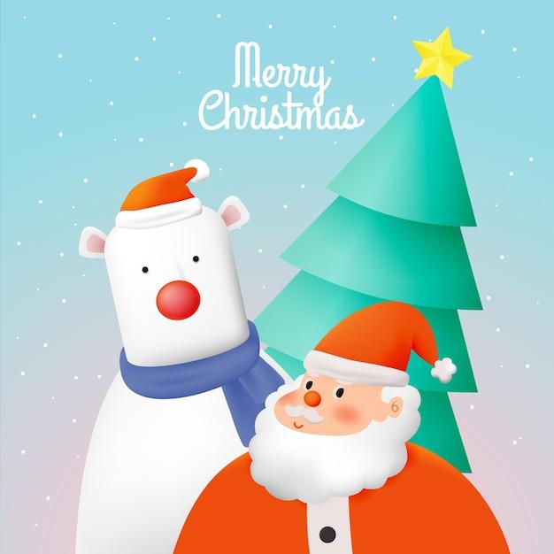 Kerstman in papier kunststijl met sneeuw en sneeuwvlok achtergrond afbeelding Premium Vector