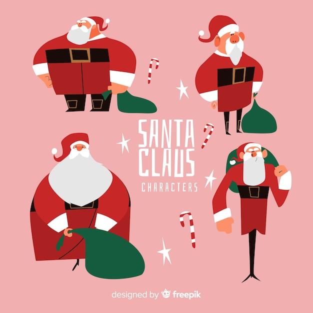 Kerstman karakter collectie in platte ontwerp Gratis Vector