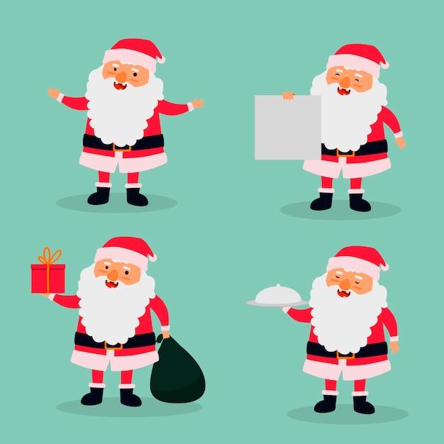 Kerstman karaktercollectie in plat ontwerp Gratis Vector