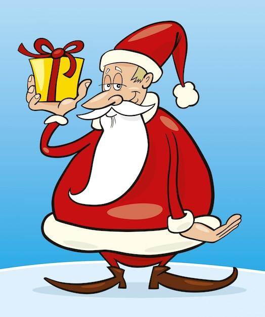 Kerstman Met Cadeau Cartoon Vector Premium Download