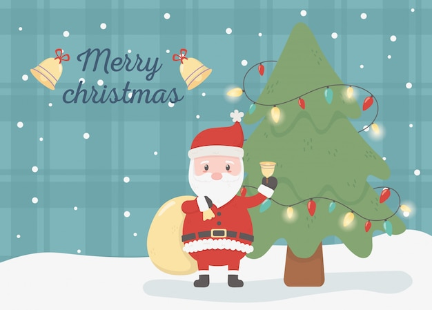 Kerstman met geschenk tas viering gelukkig kerstkaart Premium Vector