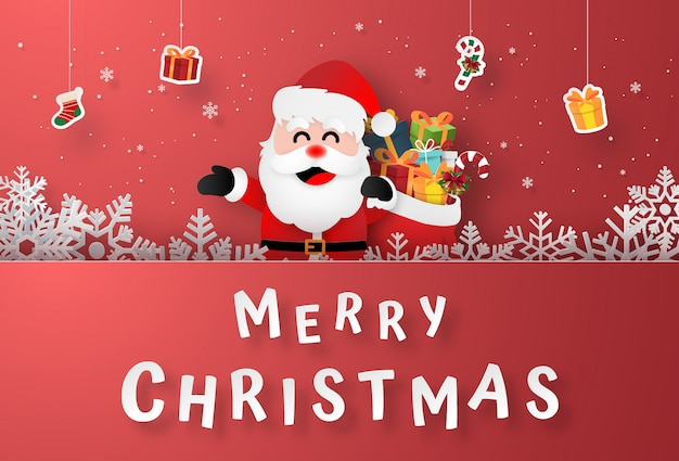 Kerstman met hangende geschenken op kerst briefkaart Premium Vector