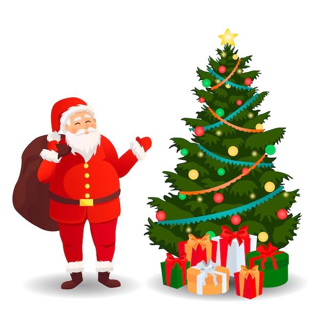 Kerstman met kerstboom. kerstkaart. Premium Vector