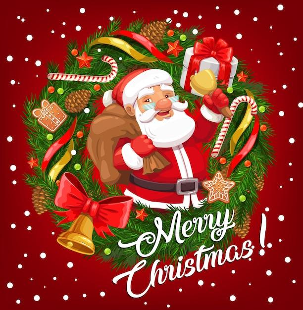 Kerstman met kerstcadeau tas en xmas bell in frame van winter vakantie feestelijke krans wenskaart. Premium Vector