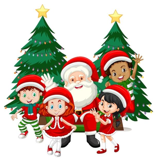 Kerstman met kinderen dragen kerst kostuum stripfiguur op witte achtergrond Gratis Vector