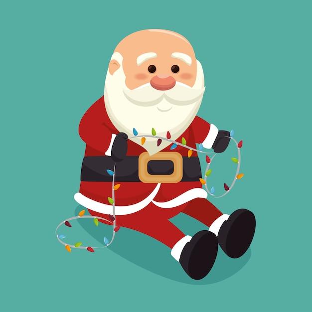 Kerstman met lichten Gratis Vector