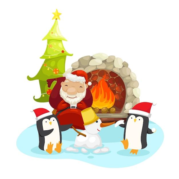 Kerstman met pinguïns op een winter Premium Vector