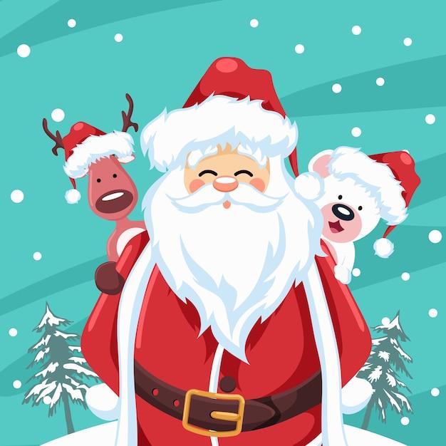 Kerstman met rendier en kerstbeer Premium Vector