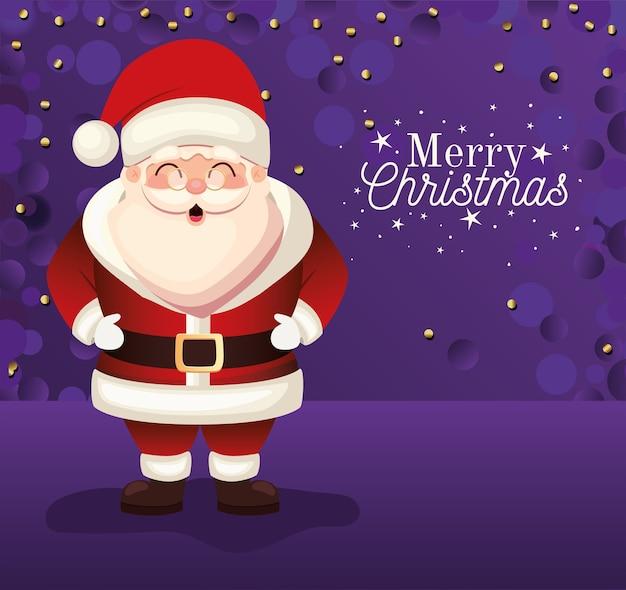 Kerstman met vrolijk kerstfeest belettering op paarse achtergrond illustratie Premium Vector