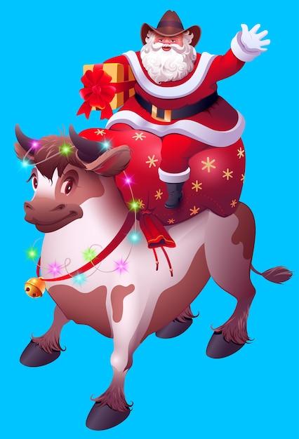 Kerstman met zak met geschenken rijdt stier. vrolijk kerstfeest 2021 jaar van koe naar chinese kalender. Premium Vector