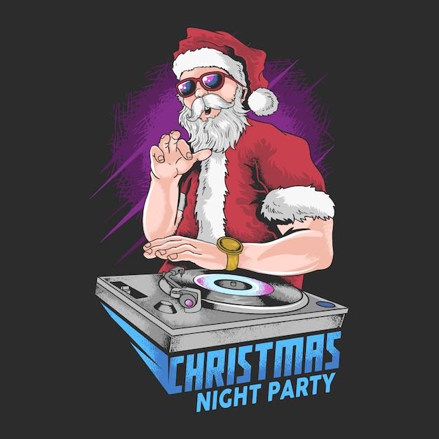 Kerstman muziek dj nachtpartij vector speciaal kunstwerk Premium Vector