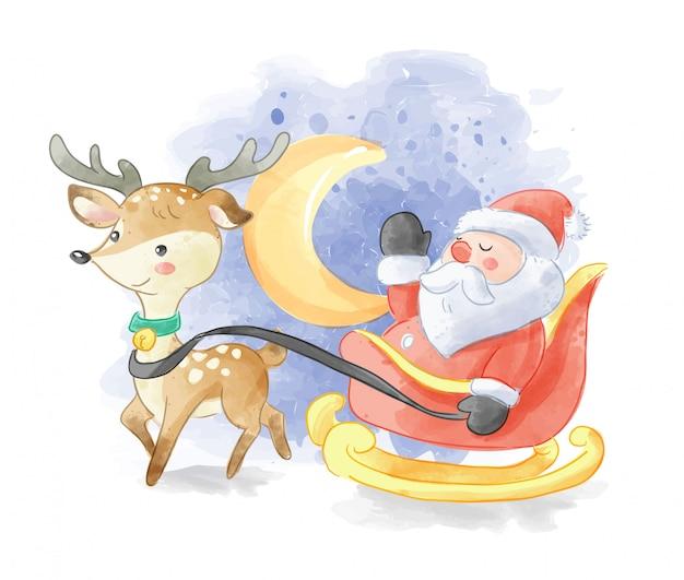 Kerstman op slee en herten illustratie Premium Vector