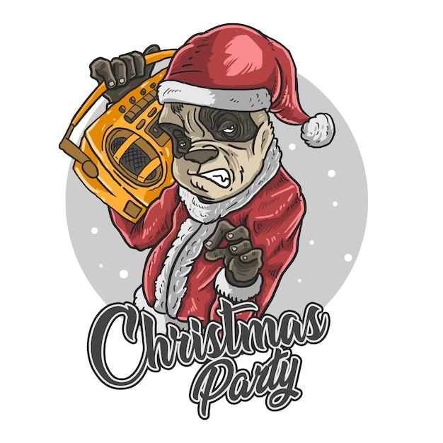 Kerstman panda muziek afspelen Premium Vector
