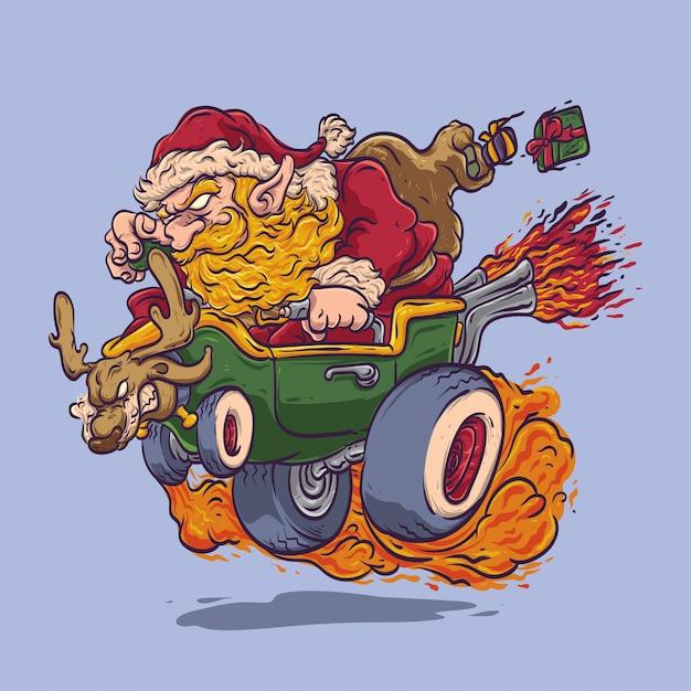 Kerstman rijden hot rod auto Premium Vector
