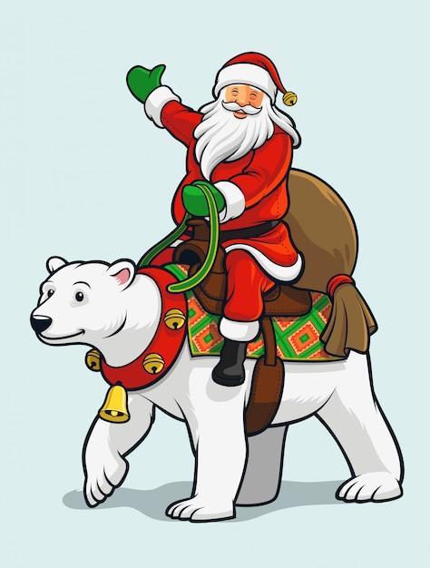 Kerstman rijdt op ijsbeer Premium Vector