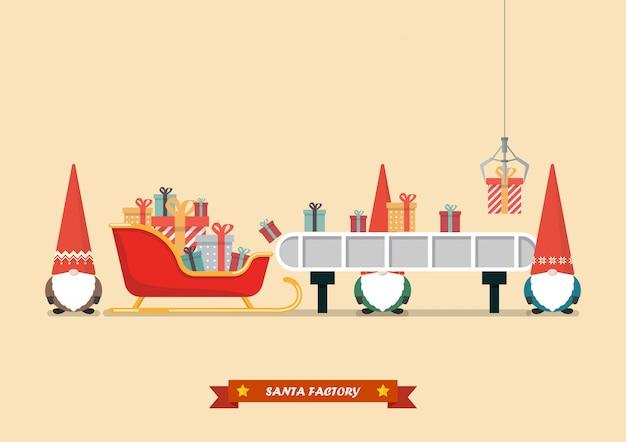 Kerstman slee met stapels cadeautjes wachten op een geschenk dozen van robot machine Premium Vector
