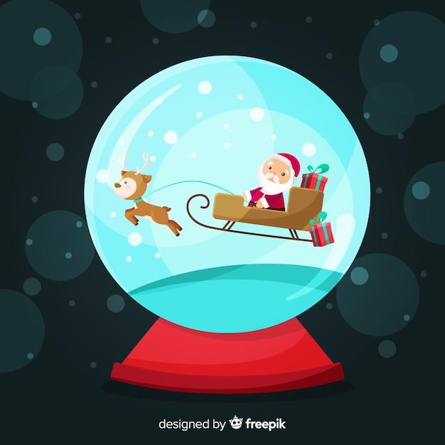Kerstman sleigh kerstmis sneeuwbal Gratis Vector