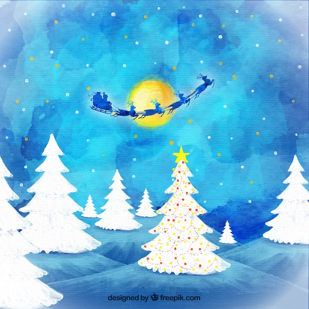 Kerstman vliegen 's nachts achtergrond aquarel Gratis Vector