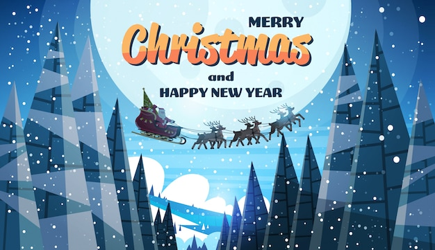 Kerstman vliegt in slee met rendieren nachtelijke hemel over maan Premium Vector