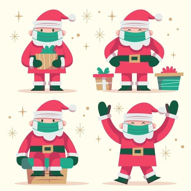 Kerstmancollectie die gezichtsmasker draagt Gratis Vector
