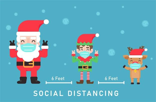 Kerstmanelfen en rendieren dragen maskers. houd sociale afstand tijdens kerstmis Premium Vector