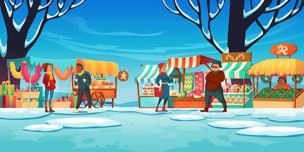 Kerstmarkt met kraampjes, verkopers en klanten, wintermarkt met kraampjes, traditionele zoetigheden en geschenken, dennenboomversiering te koop Gratis Vector