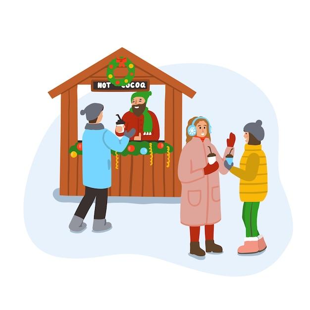 Kerstmarkt of kermis. winters tafereel met mensen die praten en warme chocolademelk drinken. vrolijk kerstfeest. illustratie geïsoleerd op een witte achtergrond. Premium Vector