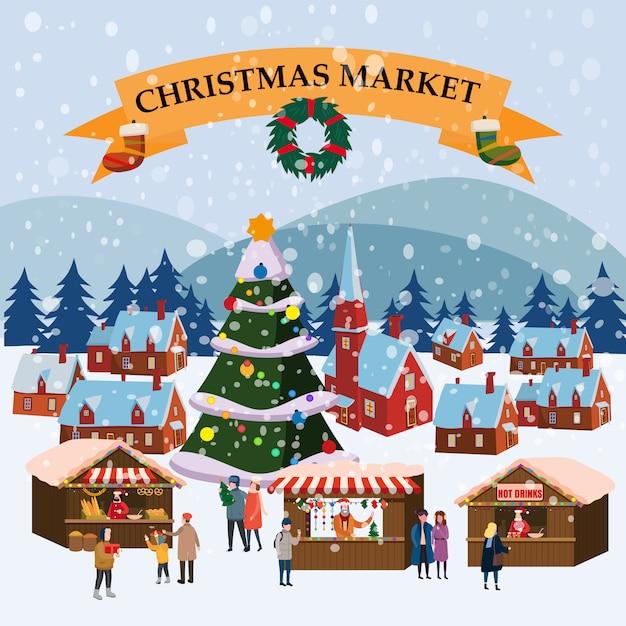 Kerstmarkt openluchtmarkt op stadsplein Premium Vector