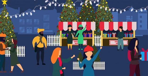 Kerstmarkt winkel winter kaart illustratie stad. Premium Vector