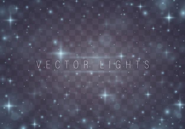Kerstmis abstract patroon glanzende sterren op blauwe achtergrond Premium Vector