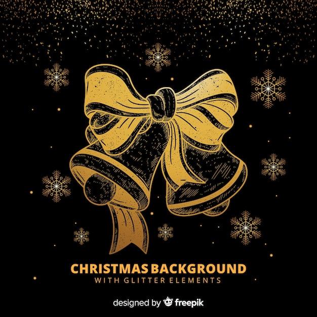 Kerstmis achtergrond met glitter elementen Gratis Vector