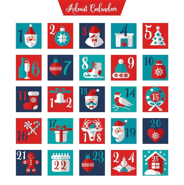 Kerstmis adventkalender of poster. wintervakantie elementen. aftelkalender. Premium Vector